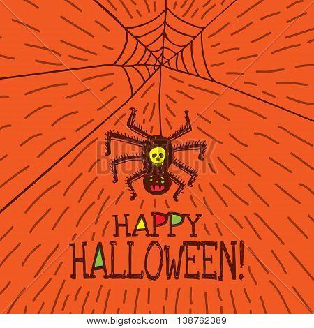 Halloween card with hand drawn hanging spider on orange background. Vector hand drawn illustration.