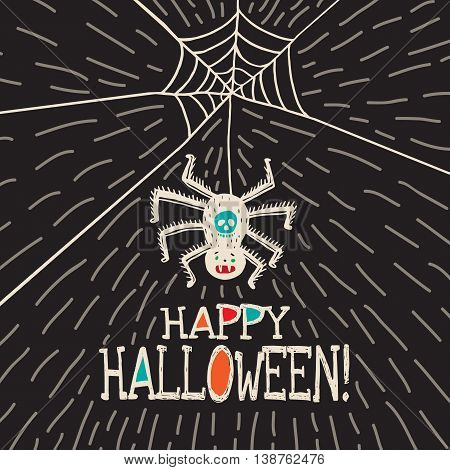 Halloween card with hand drawn hanging spider on black background. Vector hand drawn illustration.