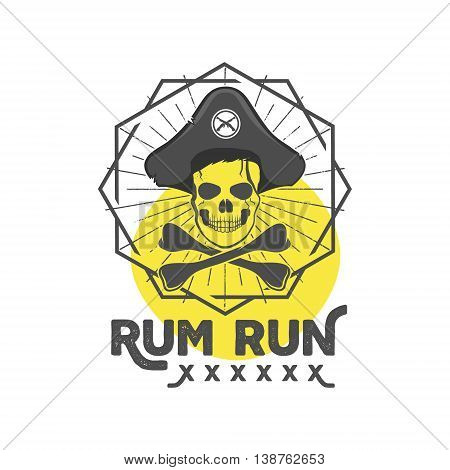 Pirate skull insignia or poster. Retro rum label design with sun bursts, geometric shield and vector text - rum run. Vintage style for tee design, t-shirt, web projects, logotype, pub etc