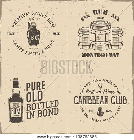 Set of vintage handcrafted pirates emblems, labels, logos. Isolated on a scratched paper background. Sketching filled style. Pirate and sea symbols - old rum bottles, barrels, skull. Vector.