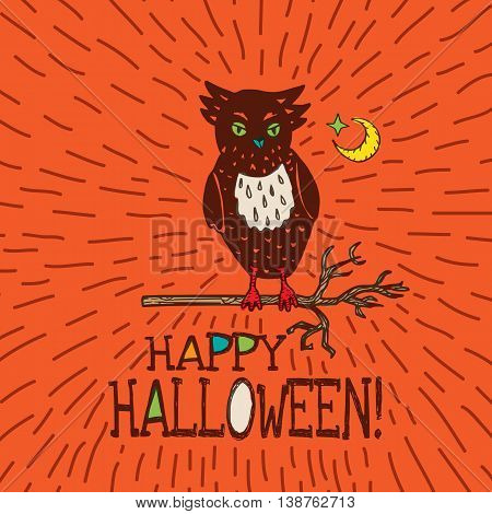 Halloween card with hand drawn owl silhouette on moon background. Vector hand drawn illustration on orange background.