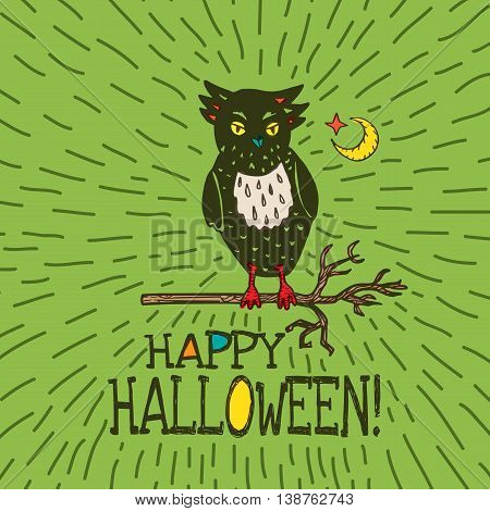 Halloween card with hand drawn owl silhouette on moon background. Vector hand drawn illustration on green background.