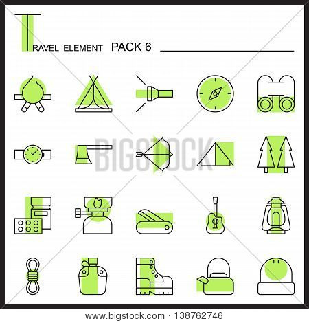 Travel Element Line Icon Set 6.Camping thin icons.Color pack.Graphic vector logo set.Pictogram design.