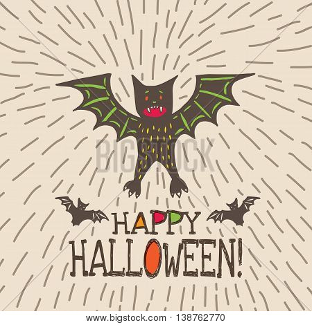 Halloween card with hand drawn bat in cute cartoon characters on beige background. Vector hand drawn illustration.