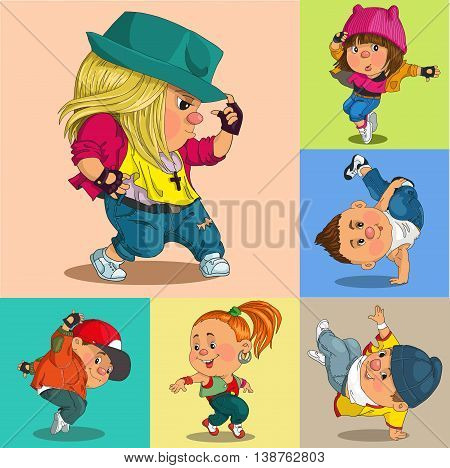 Funny cartoon. Vector illustration. Group of cheerful teenagers dancing Hip-Hop. Isolated objects.