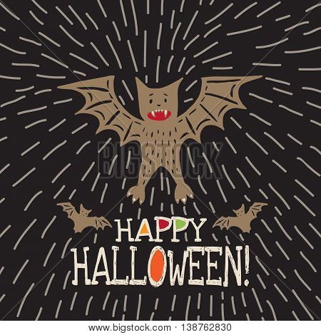 Halloween card with hand drawn bat in cute cartoon characters on black background. Vector hand drawn illustration.