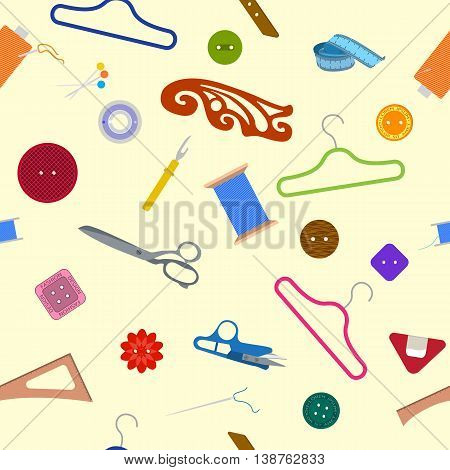 Sewing Items Pattern on the Light Yellow Background .Seamless fashion background. Sewing accessories backdrop for hand made hobby. Vector illustration flat design