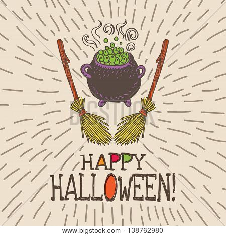 Halloween card with hand drawn witch's cauldron and broom on beige background. Vector hand drawn illustration.