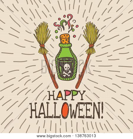 Halloween card with hand drawn magic potion bottle and broom on beige background. Vector hand drawn illustration.