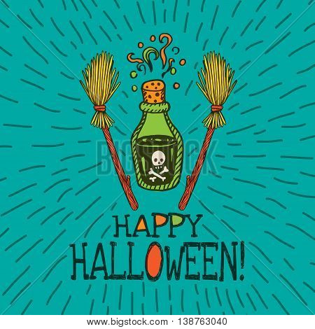 Halloween card with hand drawn magic potion bottle and broom on turquoise background. Vector hand drawn illustration.