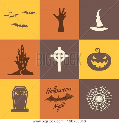 Set of halloween icons isolate on multicolor backgrounds. Flat design. Holiday party symbols - pumpkin, bat, witches hat, zombie hand, vampire house, lonely tree and other. Use for web, tee, t-shirt.