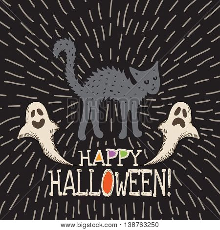 Halloween card with hand drawn black cat and ghosts on black background. Vector hand drawn illustration.