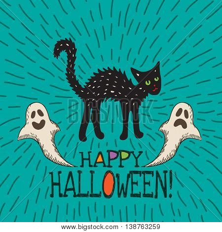 Halloween card with hand drawn black cat and ghosts on turquoise background. Vector hand drawn illustration.