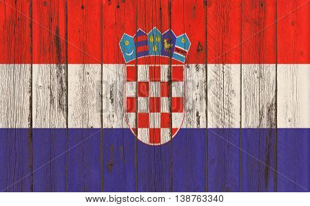 Flag of Croatia painted on wooden frame