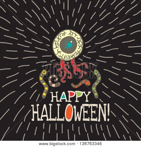 Halloween card with hand drawn zombie eye with worms on black background. Vector hand drawn illustration.