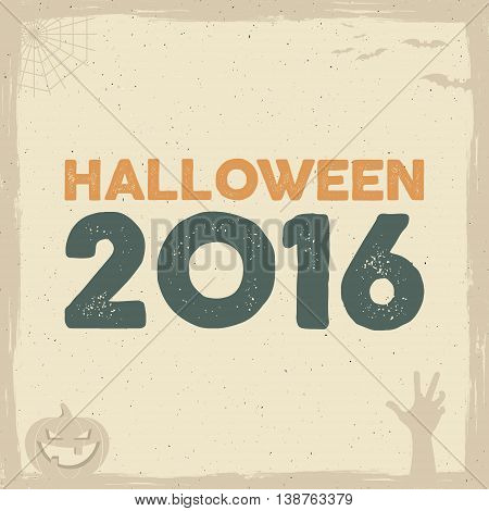 Happy Halloween Poster template with holiday symbols - bat, pumpkin, hand, witch hat, spider web and other. Vector text. Use as retro banner, party flyer design etc. Vector illustration