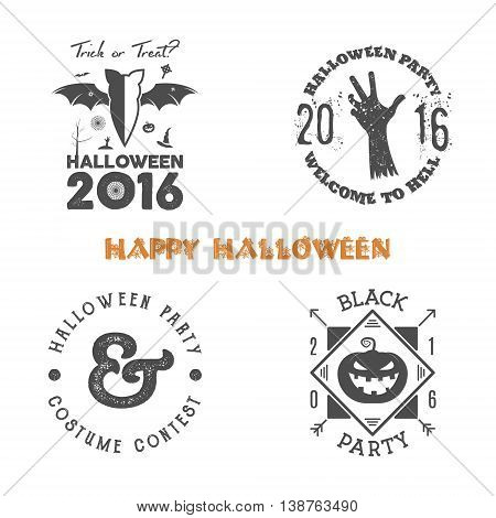 Halloween 2016 party label templates with scary symbols - zombie hand, bat, spider web, pumpkin and typography elements. Use for party posters, flyers, invitations. On t shirt, tee and other identity.