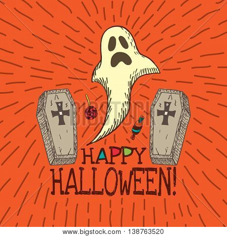 Halloween card with hand drawn ghost, coffins and candy on orange background. Vector hand drawn illustration.