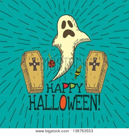 Halloween card with hand drawn ghost, coffins and candy on turquoise background. Vector hand drawn illustration.
