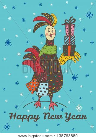 2017 Happy New Year greeting card with hand drawn Rooster with gift shopping. Vector hand drawn illustration of Rooster on blue background.