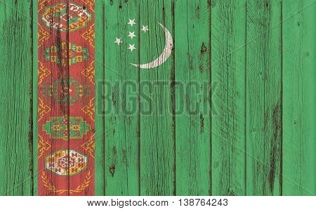 Flag of Turkmenistan painted on wooden frame