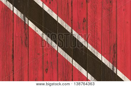Flag of Trinidad and Tobago painted on wooden frame