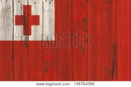 Flag of Tonga painted on wooden frame