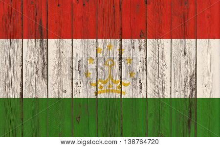 Flag of Tajikistan painted on wooden frame