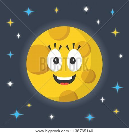 Vector moon. Cute funny smiling cartoon character and night sky with stars. Creative flat illustration