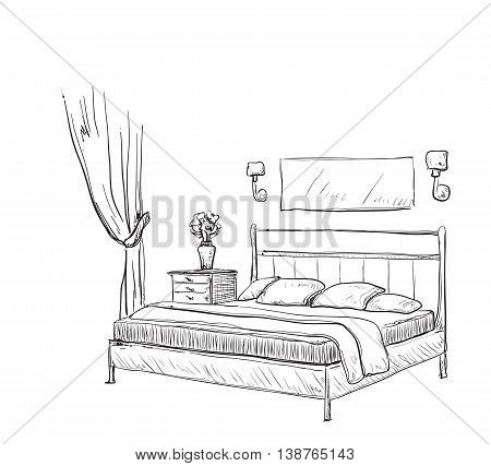 Bedroom modern interior sketch. Hand drawn furniture