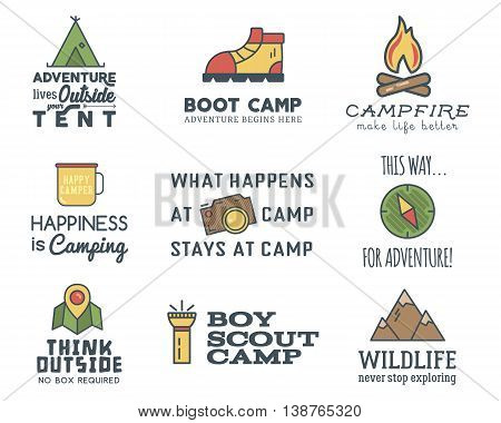 Camping logo design set with typography and travel elements - compass, mountain, tent. With vector adventure sayings and signs. Hiking trail, backpacking symbols. Nice for prints, tee design, apparel.