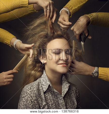 Woman in a beauty salon. Beauty Woman face Portrait. Beautiful model Girl