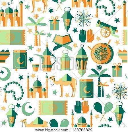 Ramadan Kareem Icons Set Of Arabian.seamless Pattern.