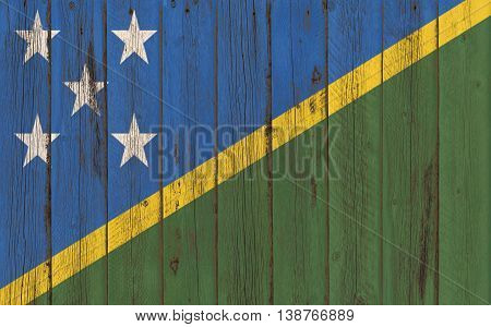 Flag of Solomon Islands painted on wooden frame
