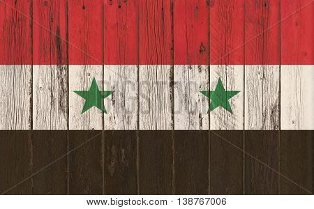 Flag of Syria painted on wooden frame