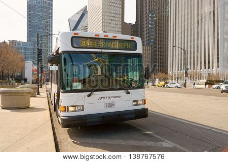 CHICAGO, IL - CIRCA MARCH, 2016: CTA bus in the daytime. Chicago Transit Authority, also known as CTA, is the operator of mass transit in Chicago, Illinois and some of its surrounding suburbs.