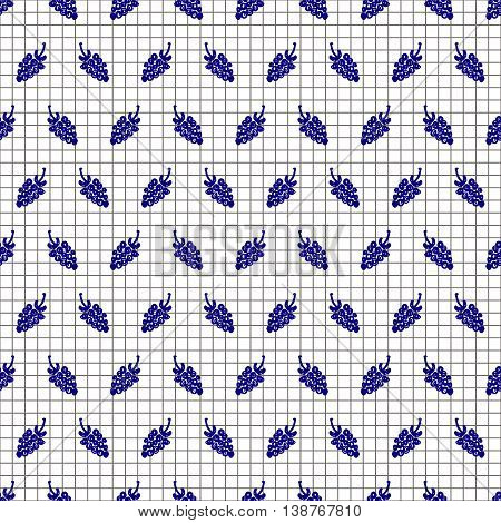Seamless fruits vector pattern, background with berries on the checkered paper. Hand sketch drawing. Imitation of ink drawing. Series of Fruits and Hand Drawn Patterns.