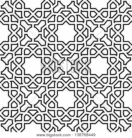 Seamless geometric pattern for your designs and backgrpounds. Modern vector ornament with repeating elements. Black and white pattern