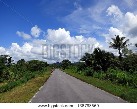 unrecognizable young woman walking on the road in rain forest, Gunung Mulu, Borneo, Malaysia