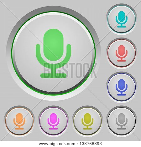 Set of color microphone sunk push buttons.