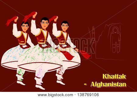 Vector design of People performing Khattak dance of Afghanistan