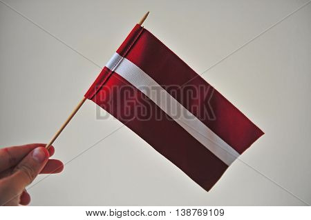 Fingers holding the national flag of Lithuania