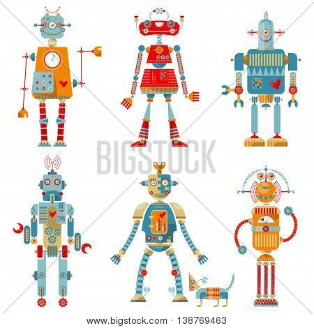 Set of 6 robots of different shapes and multiple colors.