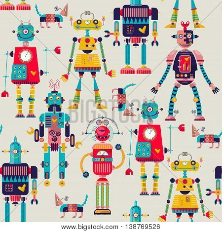 Set of 6 robots of different shapes and multiple collors.
