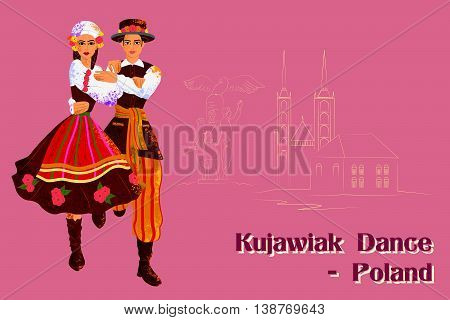 Vector design of Couple performing Kujawiak dance of Poland