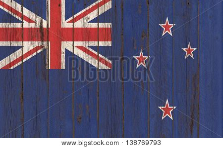 Flag of New Zeland painted on wooden frame
