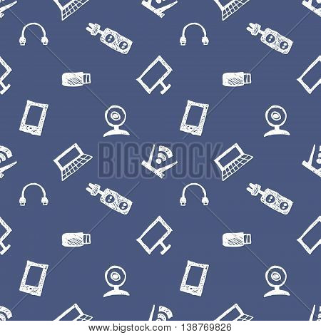 Seamless vector pattern, background monitor, notebook, router, usb and microphone on the blue backdrop. Hand sketch drawing. Imitation of ink pencilling. Series of Hand Drawn and Technology Patterns.