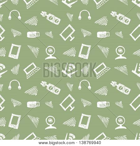 Seamless vector pattern, background monitor, notebook, router, usb and microphone on the green backdrop. Hand sketch drawing. Imitation of ink pencilling. Series of Hand Drawn and Technology Patterns.
