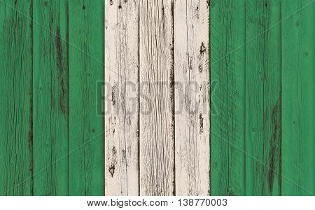 Flag of Nigeria painted on wooden frame