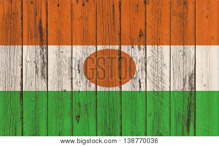 Flag of Niger painted on wooden frame